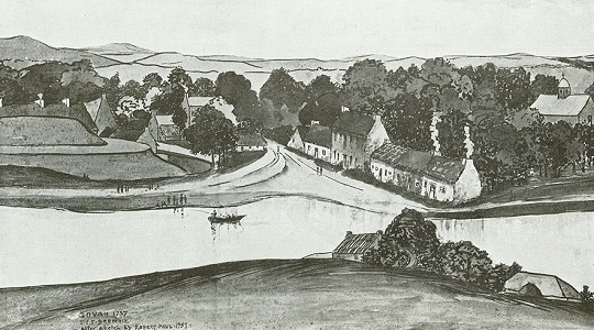 Govan in 1757, looking south across the Clyde from Partick. The Doomster Hill is on the left, with the cottages of Water Row in the centre and the parish church on the right. (http://earlymedievalgovan.wordpress.com/)