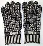 Gloves knitted in the Sanquhar pattern.