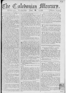 Runaway Slave advertisment (see bottom central column): 'London', Caledonian Mercury, 8 June 1786. Image copyright The British Library Board. All rights reserved.