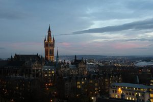 University of Glasgow building in the evening