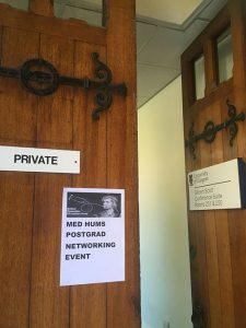 Sign on a door for the Medical Humanities Postgraduate Networking Event
