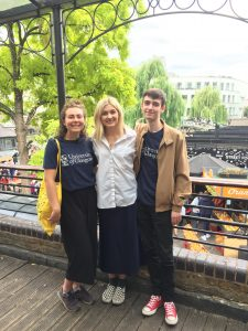 Ally, Sian and Nicholas standing by Camden Lock