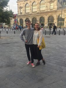 Nicholas and Ally standing in front of a train station in Lille