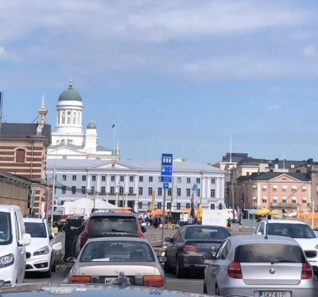 A view of Helsinki harbour with bright blue skies